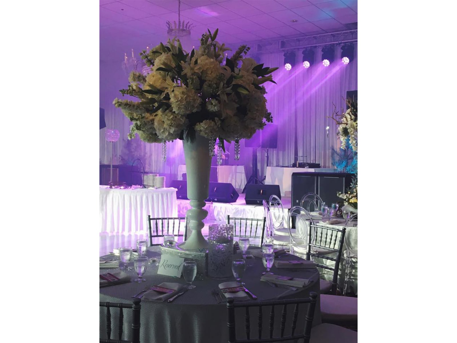 Wedding reception with stage from Presidential Catering